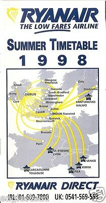 Airline Timetable   Ryanair   Summer 1998   S