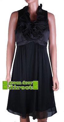 f6546b3ee Js Boutique Raso Negro Fruncido Delantero Vestido Fiesta Noche UK 10 Eur 36 segunda  mano Embacar