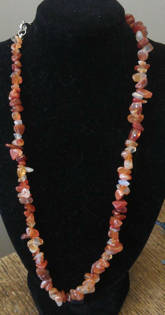 "Carnelian Chip Necklace 16"" to 34"", Long Necklace, Short Necklace"