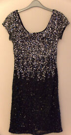 Midi black/silver sequinned cocktail dress in Size 10