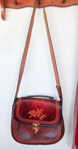 TOOLED LEATHER BAG - HEAVY COWHIDE REAL LEATHER - OAKVILLE 905 510-8720 messenger Cross-body long strap Brown clip NEW