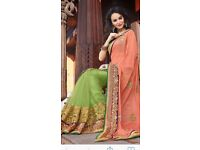Peach and lime green saree