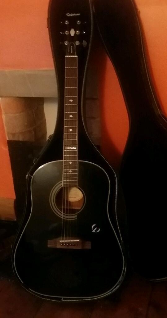 Gibson Epiphone Black Acoustic Guitar Rare In Leicester