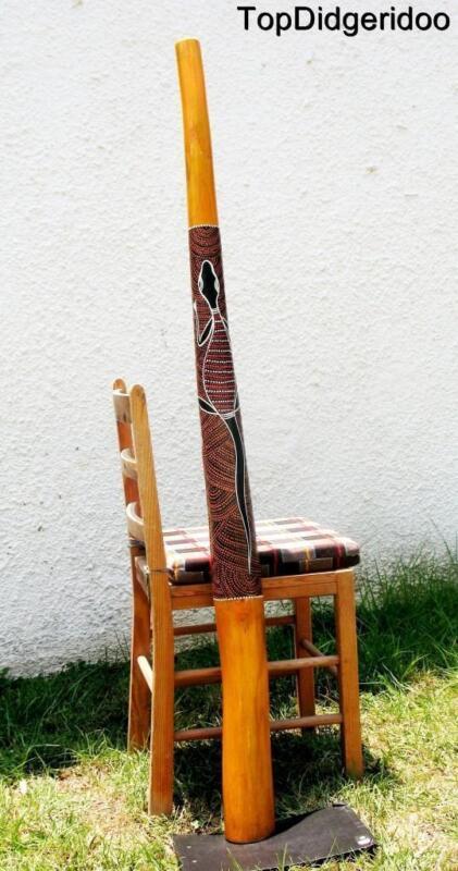 """59""""150cm DIDGERIDOO+Bag+Beeswax Mouthpiece Teak Wood LIZARD Artwork Dot-Paint"""