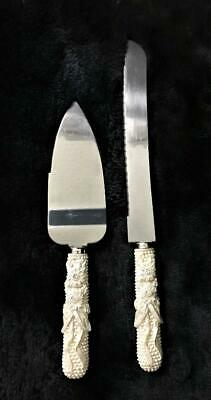 WEDDING CAKE KNIFE AND SERVER SET WHITE BEADED HANDLE W/FLOWERS STAINLESS STEEL