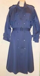 LINDA LUNDSTROM WOOL TRENCH COAT Womens M 10 12 Navy Blue Vtg Spring Jacket long
