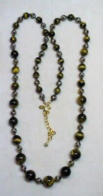 """JOAN RIVERS GOLD EP GRADUATED TIGERS EYE & GLASS BEAD 36"""" NECKLACE NEW"""