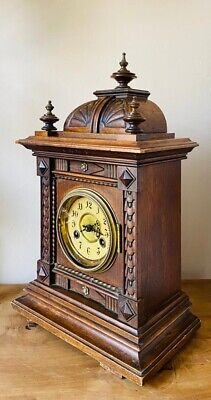 Large Antique Wooden Mantle Bracket Clock Franz Hermle Striking