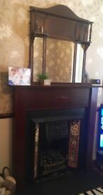 Wooden Victorian Fireplace Surround with mirror
