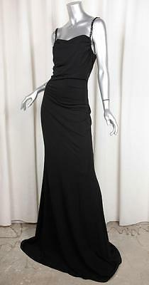VALENTINO Womens Black Knit Beaded Straps Tulle *OPEN* Back Gown Dress 42/6 NEW for sale  West Hollywood