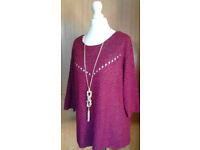 Ladies Burgundy Maroon BHS Crew Neck Sweater Jumper with 3/4 Length Sleeves.Size 12.