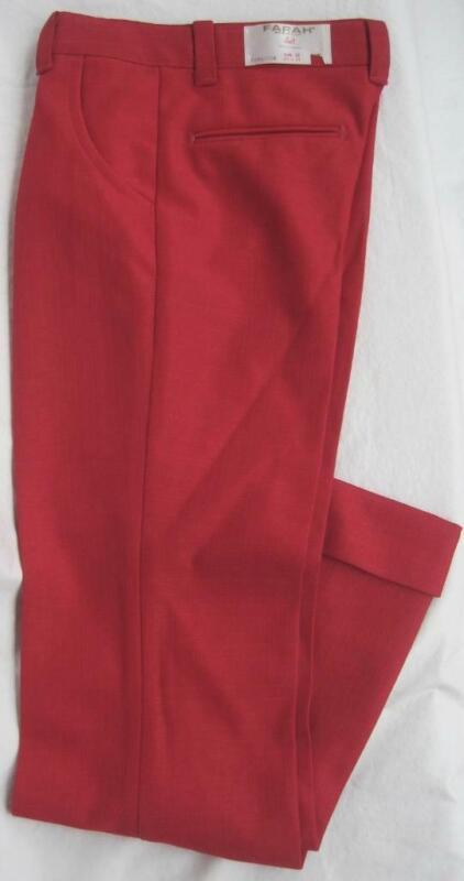 FARAH Knits Boys Vintage Pants RED Sz 11 SLIM Flare 23.5Wx25L 100% Poly 1980s