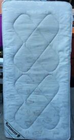 single size mattress, springs, 190 x 90 x 18cm thick. In good clean condition.