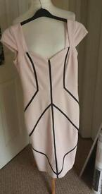 amy childs bodycon dress pale pink with black stripes size 12