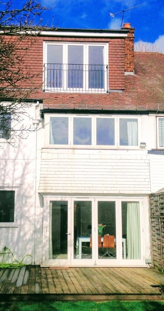 Folding sliding wooden doors  4 plus side panel  Standard height painted  white | in Chiswick, London | Gumtree
