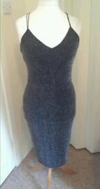 silver lurex dress size 10 from new look