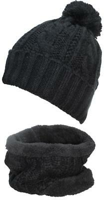 - Best Winter Hats Adult Cable & Rib Knit Beanie & Neck Warmer Set #405 Black