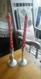 oak distressed candlestick holders