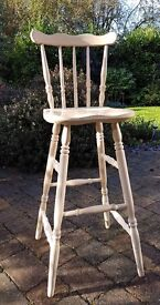 Kitchen breakfast bar chairs- Shabby Chic Limed Oak effect Solid Wood - set of 4