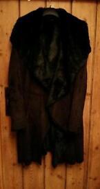 Black faux fur , faux suede coat size 16