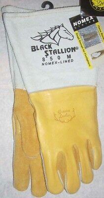 Black Stallion 850 Premium Welding Gloves Split Elkskin Leather Nomex Sz Medium