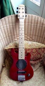 BURSWOOD MINI / TRAVEL GUITAR WITH BUILT IN AMP AND SPEAKER.
