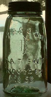 Quality Replica Vintage Quart MASON PATENT 1858 Canning Fruit Jar Apple Green