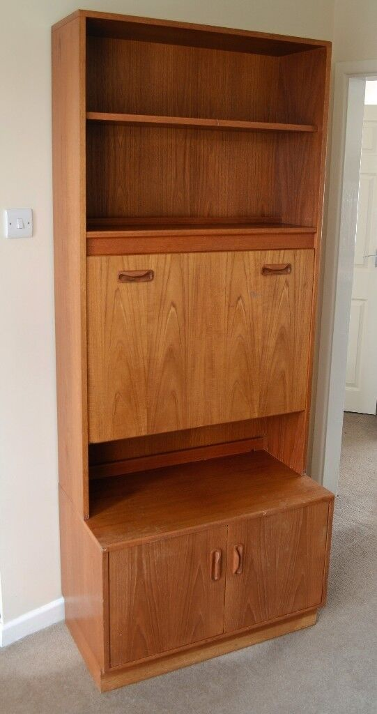 Retro G Plan Fresco Teak Wall Unit /Drinks Cabinet With Fold Out Cupboard  And Shelves