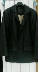 Leather jacket, coat.