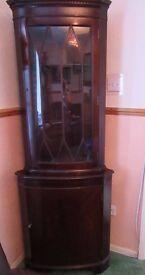 Dark Wood Corner Cabinet lockable with keys Glass top front