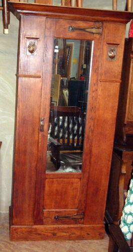 Vintage Original Unrestored Tiger Oak Mission style Armoire Wardrobe, Key Mirror