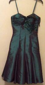 Emerald green organza style dress size 8-10
