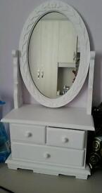 White wooden mirror with drawers