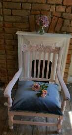 Shabby chic crown chalk paint pink grey huge hall bedroom conservatory chair