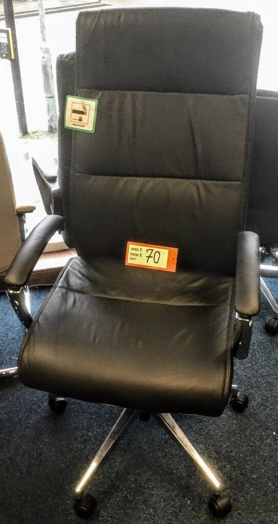 luxury leather faced high backed office swivel chair for business or