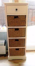 Ivory Wicker Storage Unit - One Drawer/Four Baskets