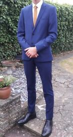 "Mens Burtons Blue 3 piece Slim Fit Suit. Jacket 38L. Trousers 32L. Waistcoat Small 35-35"" Chest"