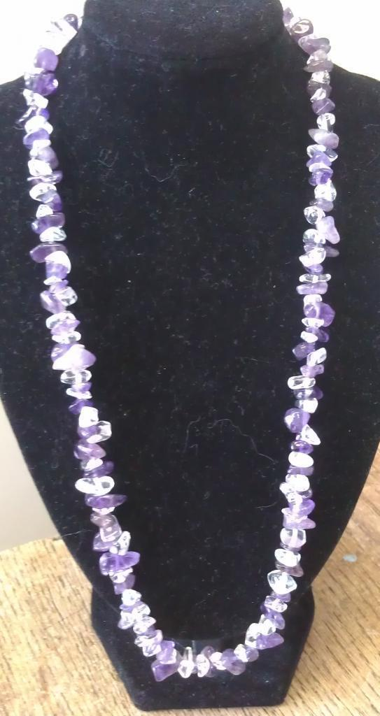 "Amethyst and Clear Quartz Necklace 16"" to 34"", Long Necklace, Short Necklace"