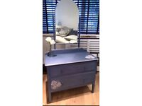 Purple vintage dressing table/chest of drawers
