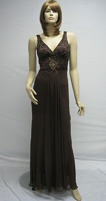 (Designer Sue Wong Brown Coffee Beaded N7340 Dress Gown Cocktail Evening 10 NEW)