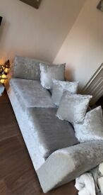 2 & 3 seater crushed velvet silver grey sofas £100 for both!!