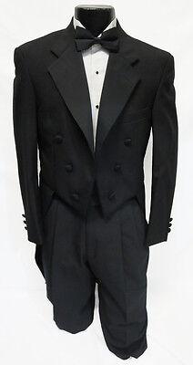 40R Mens Black Wool Chaps Formal Notch Tuxedo Tailcoat Butler Debutante Formal