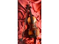 """Vintage Violin and Bow. 13.3/8"""" (34 cm) 3/4 size"""