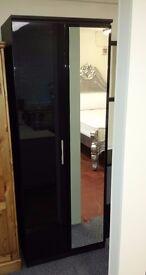 Ex display 2 doors black wardrobe with mirror
