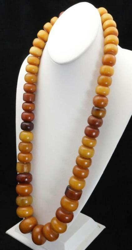 "Vintage Antique Tibetan Butterscotch Amber Necklace Large Bead Egg Yoke 34"""