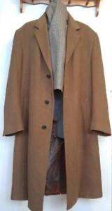 MENS L XL CAMEL CASHMERE BLEND LONG COAT STAFFORD Brown Sleeves & Back Caramel Brown Winter Jacket Tall Large 44 46