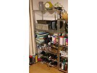 Chrome wire shelving 4 shelves + 2 wine racks 1600mm x 900mm x 355mm