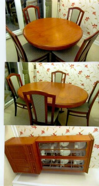 Used, STAG Dining Room table & 6 chairs, plus display unit. for sale  Rugby, Warwickshire