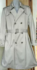 PIERRE CARDIN Designer Trench Mens Medium M Tall Beige Quality Raincoat Vintage Nearly new MINT