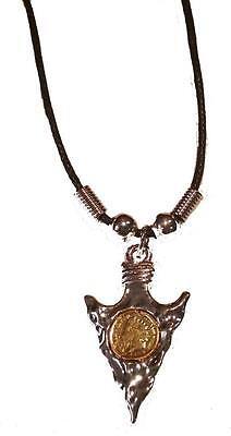 METAL ARROW HEAD W COIN ROPE NECKLACE #187 mens ladies western arrowhead jewelry
